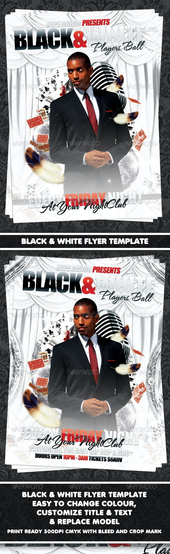 Black & White Players Ball Flyer Template - Clubs & Parties Events