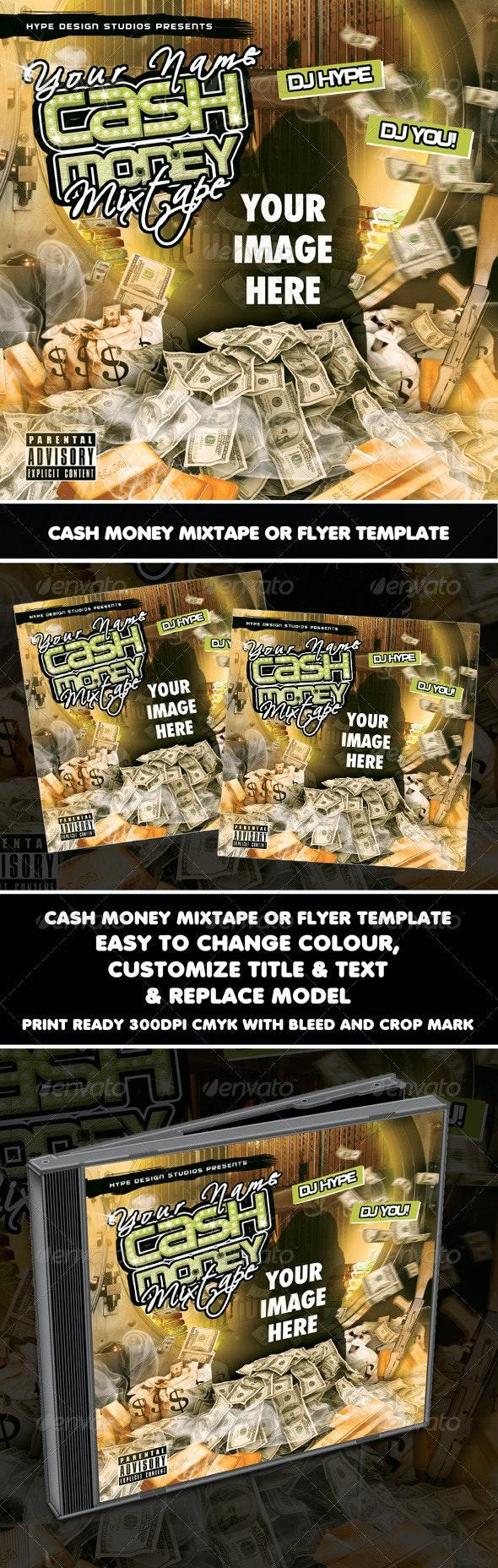 Cash Money Mixtape or Flyer Template - CD & DVD Artwork Print Templates