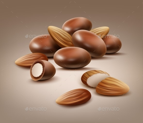 Handful of Almond Nuts - Food Objects