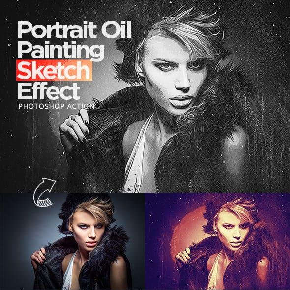 Portrait Oil Painting Sketch Effect