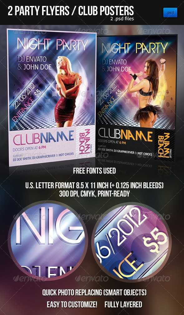 2 Modern Party Flyers / Club Posters - Clubs & Parties Events