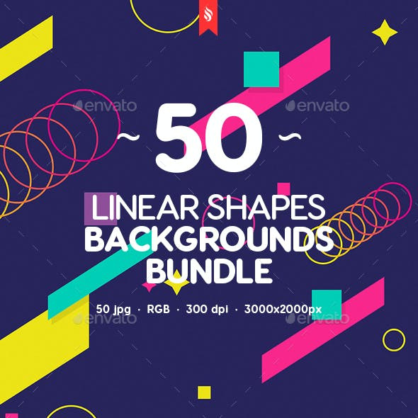 50 Abstract Linear Shapes Backgrounds Bundle