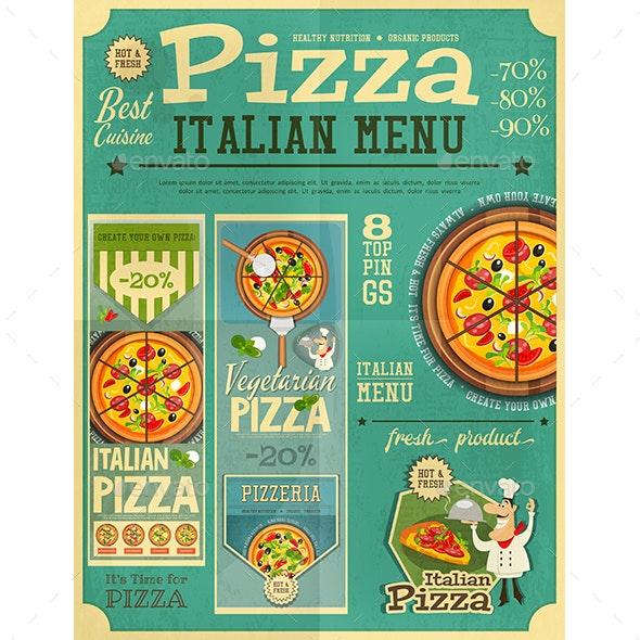 Pizza Italian Menu - Food Objects