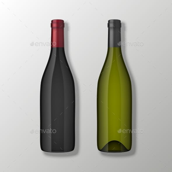 Two Realistic Vector Wine Bottles in Top View