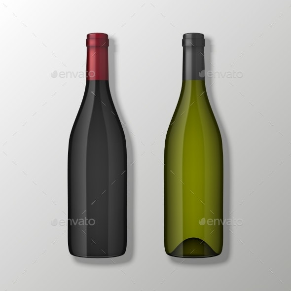 Two Realistic Vector Wine Bottles in Top View - Food Objects