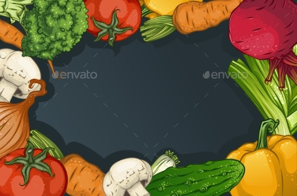 Colorful Drawing Vegetables Template - Food Objects