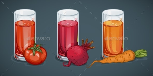 Organic Fresh Vegetable Juices Set - Food Objects