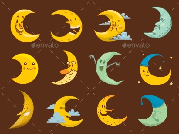 Different Moon Month Face Illustration. - Nature Conceptual