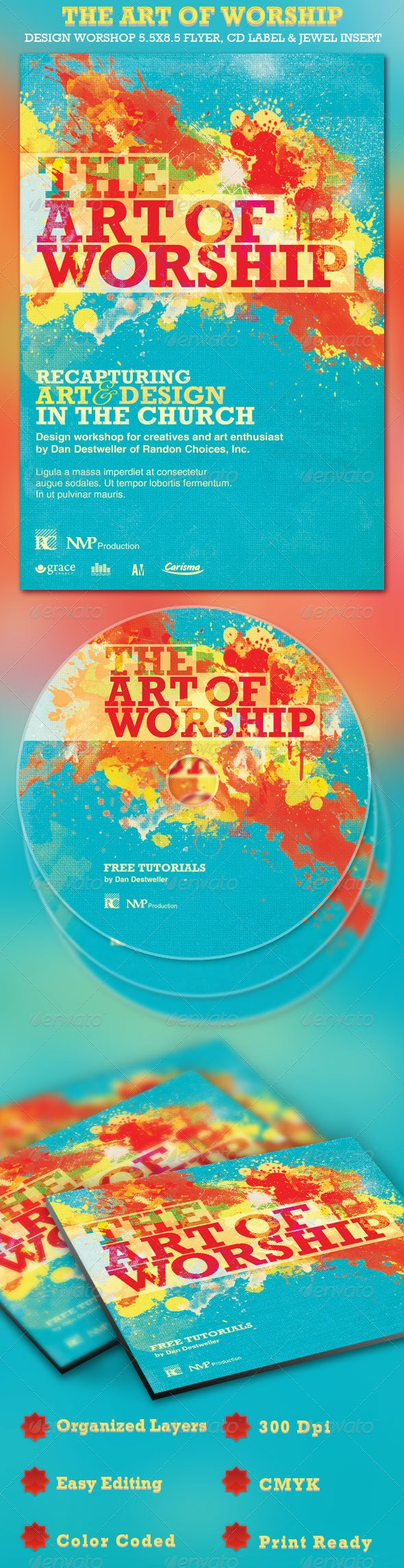 The Art of Worship Flyer and CD Template - Church Flyers