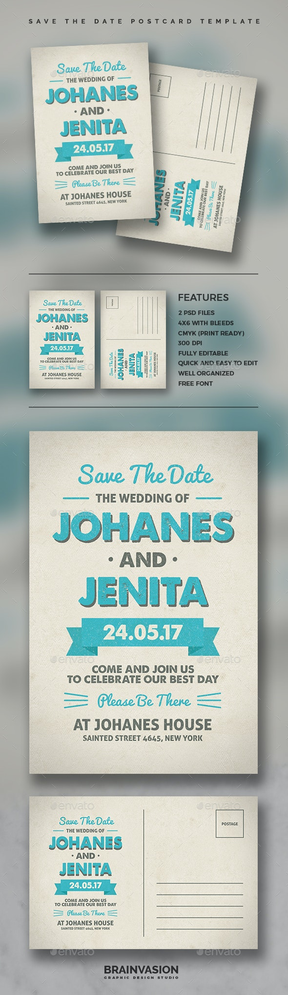 Save The Date Postcard Template Vol.02 - Cards & Invites Print Templates