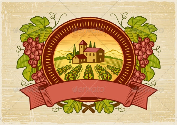 Grapes Harvest Label - Decorative Symbols Decorative