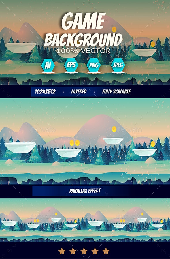 Winter Game Background - Backgrounds Game Assets