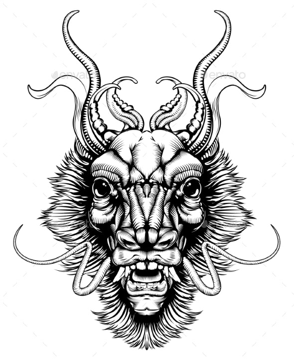 Woodblock Style Dragon Head - Monsters Characters