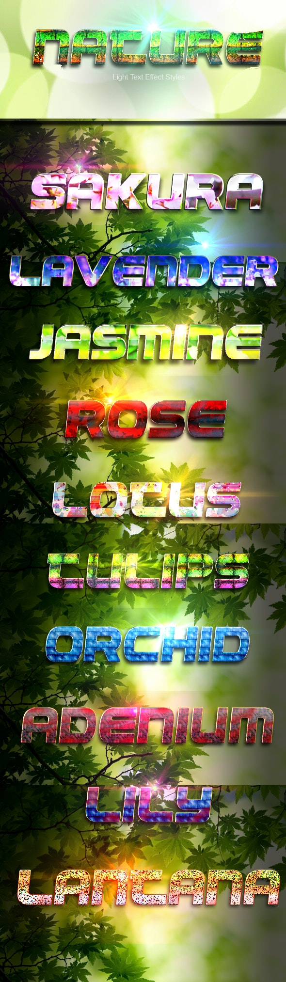 Light Text Effect Styles - Nature - Text Effects Actions