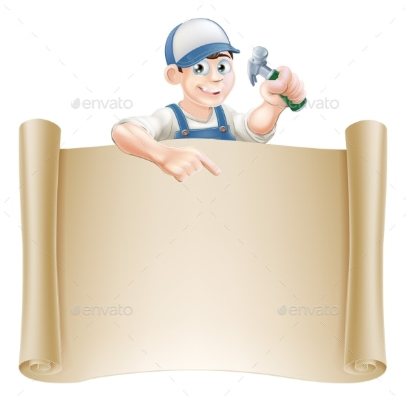Hammer Guy and Scroll - Backgrounds Decorative