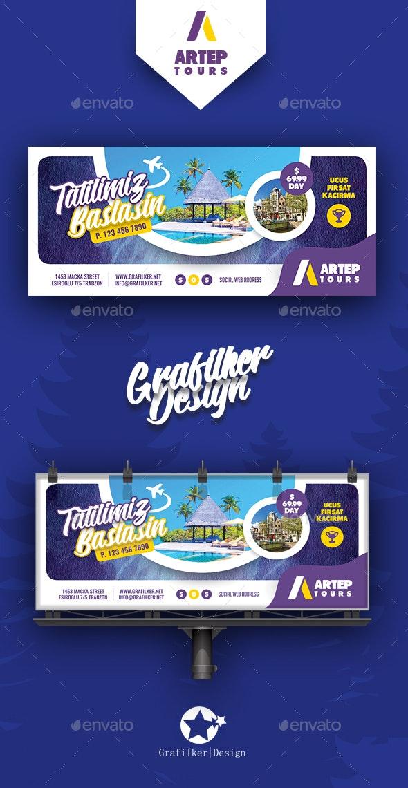 Travel Tour Billboard Templates - Signage Print Templates