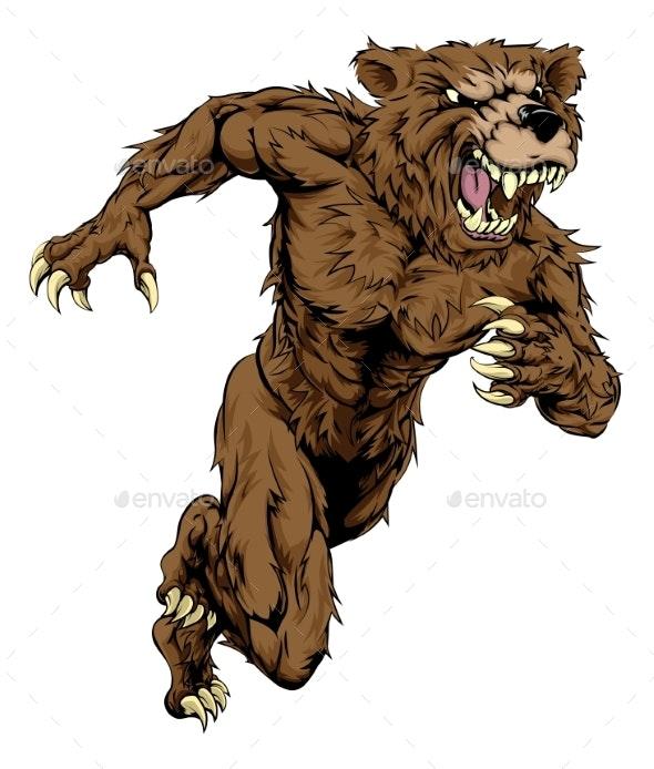Bear Sports Mascot Running - Animals Characters