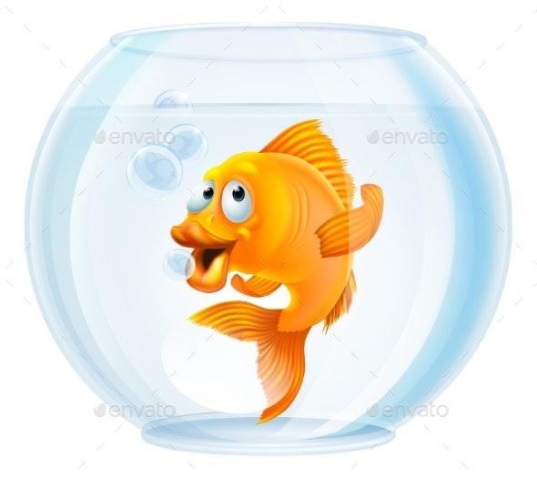 Cartoon Goldfish in Bowl - Animals Characters