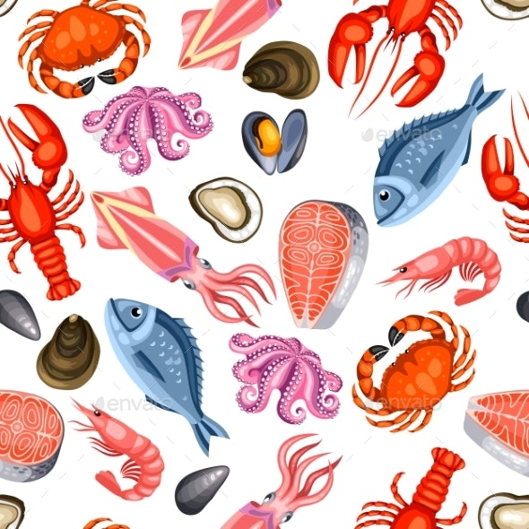 Seamless Pattern with Various Seafood - Food Objects