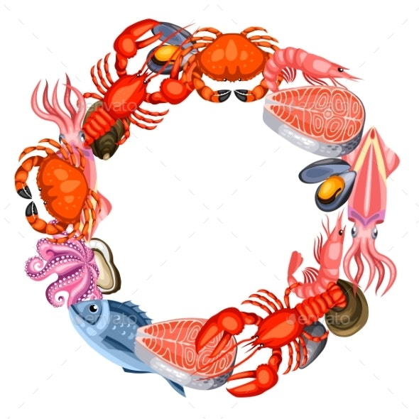 Frame with Various Seafood. Illustration of Fish - Food Objects
