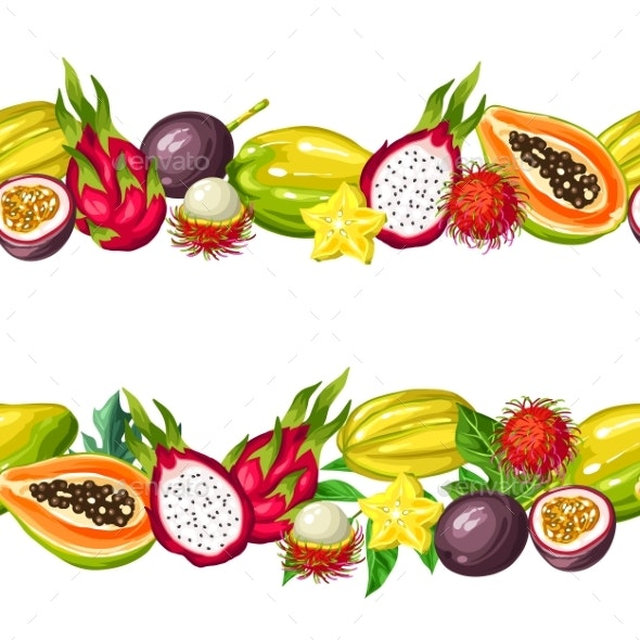 Seamless Border with Exotic Tropical Fruits - Food Objects
