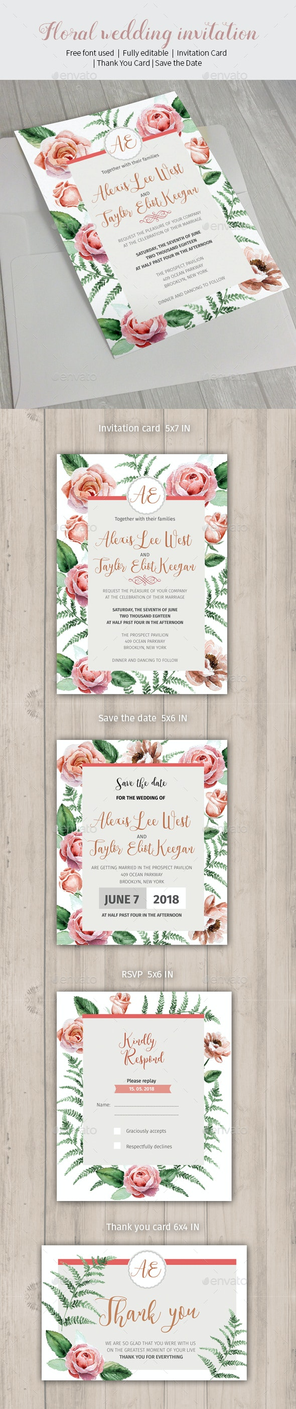 Floral wedding invitation - Weddings Cards & Invites