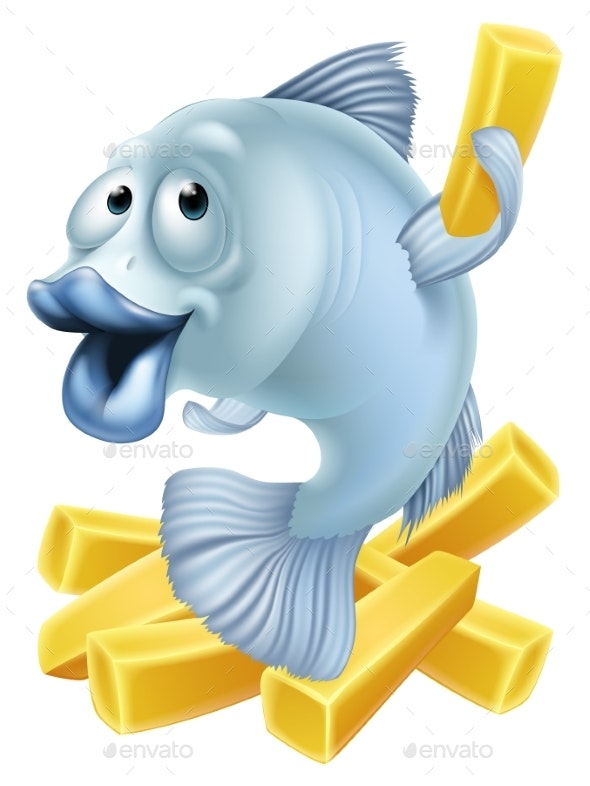Fish and Chips Cartoon - Animals Characters