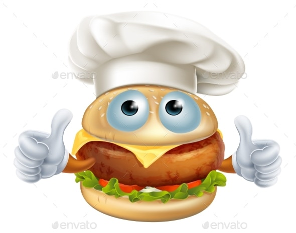Cartoon Chef Hamburger Character - Food Objects