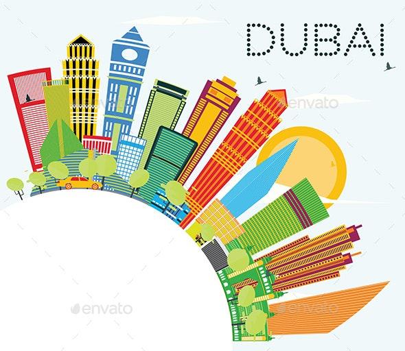 Dubai Skyline with Color Buildings, Blue Sky and Copy Space. - Buildings Objects