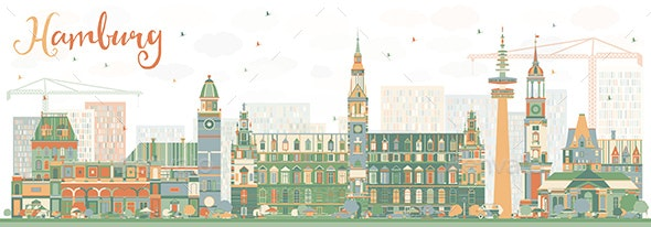 Abstract Hamburg Skyline with Color Buildings. - Buildings Objects
