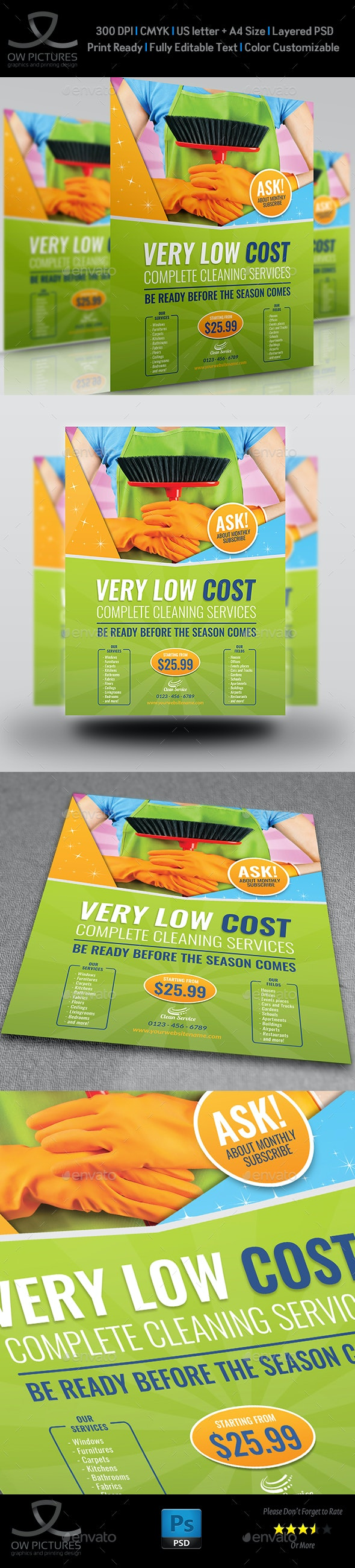 Cleaning Services Flyer Template Vol.3 - Commerce Flyers
