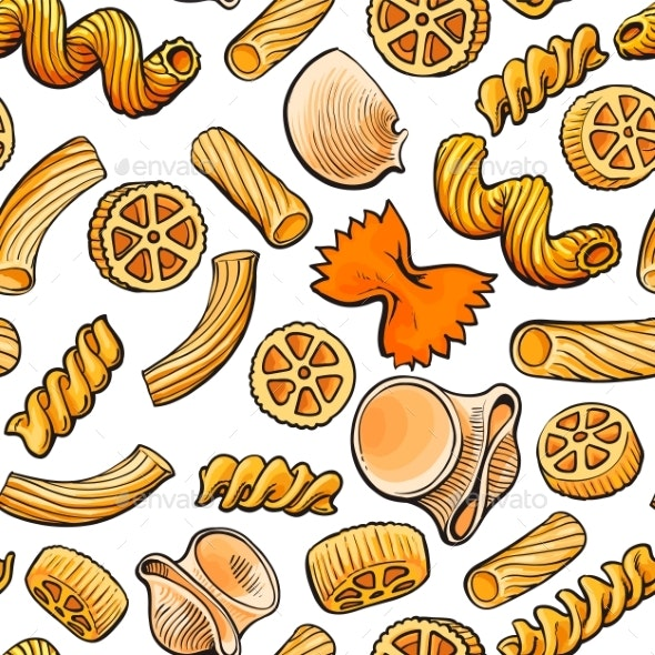 Seamless Pattern, Backdrop Design of Italian Pasta - Food Objects