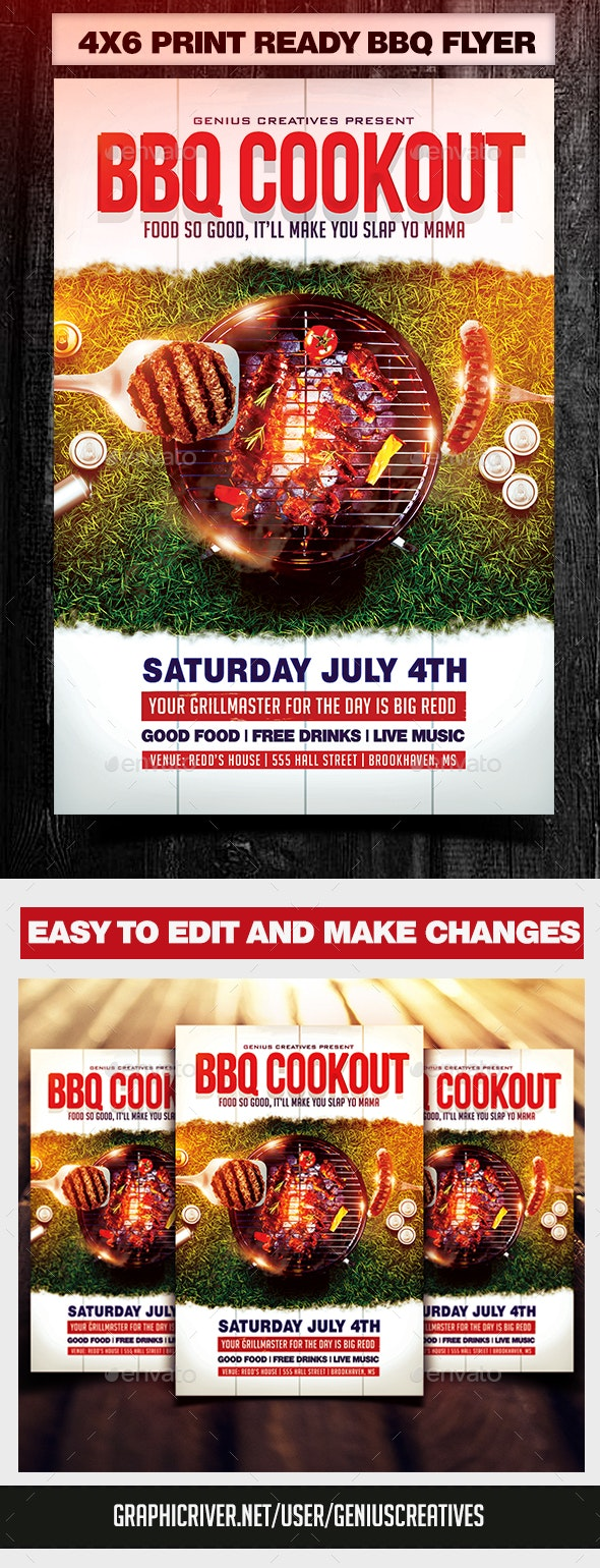 BBQ Cookout Flyer Template - Flyers Print Templates