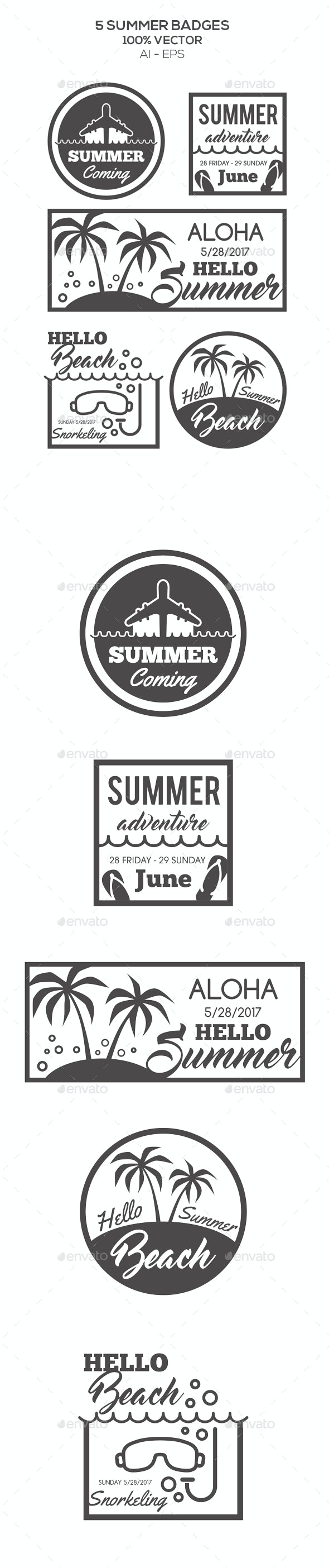 Summer Badges - Badges & Stickers Web Elements
