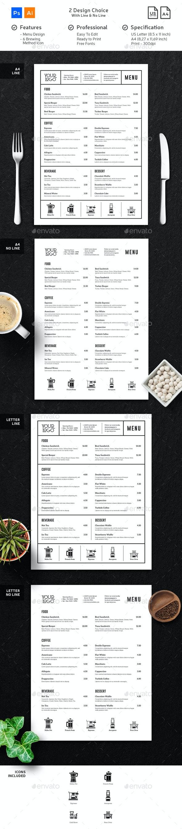 Coffee Menu Minimalist Clean - Food Menus Print Templates
