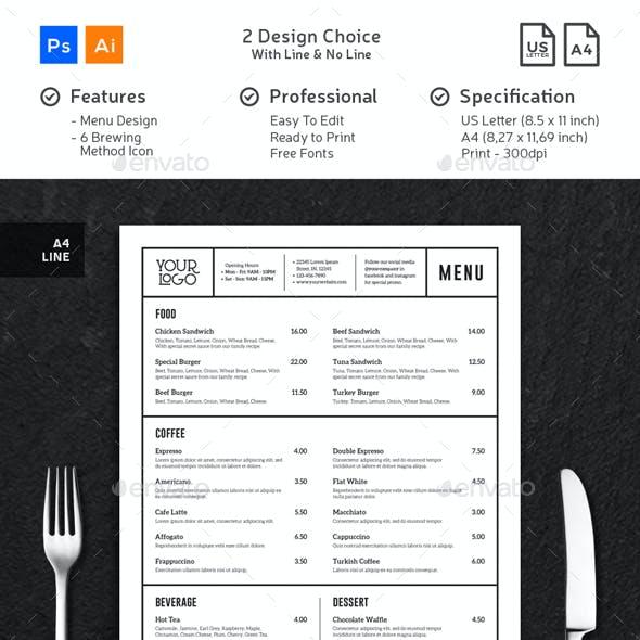 Compre seu Modelo de Cardápio Café minimalista limpo personalizado para seu negócio