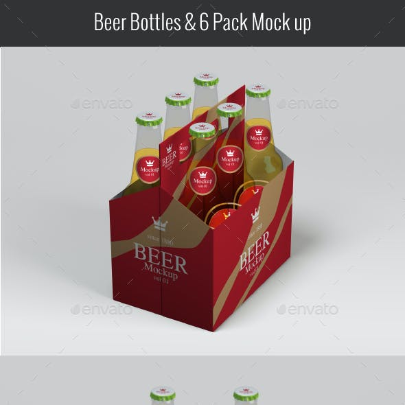 Beer Bottles & Six Pack Mockup V01