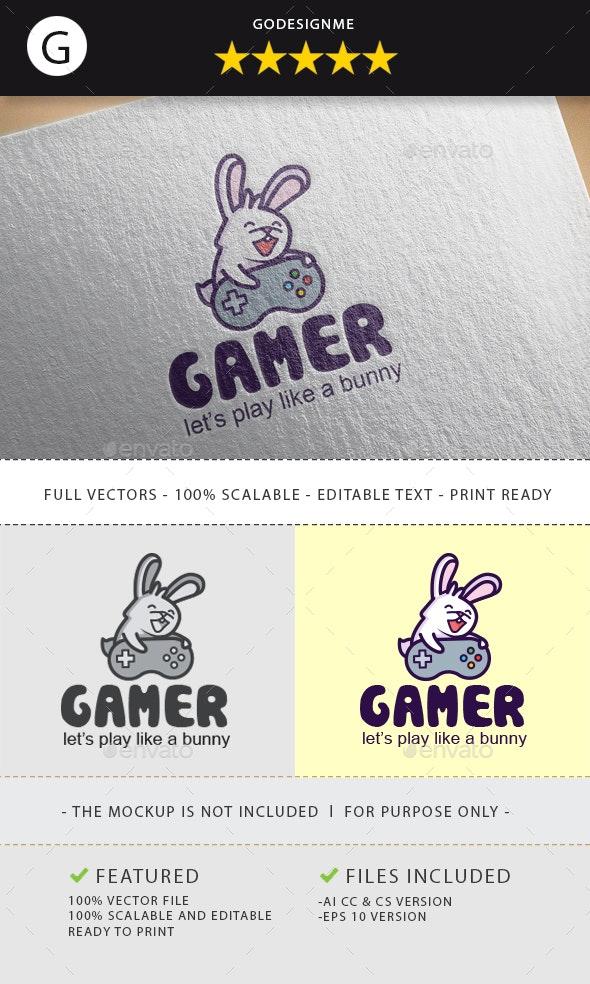 Rabbit Gamer Logo Design - Animals Logo Templates