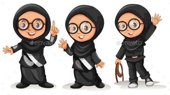 Muslim Girl in Black Costumes - People Characters
