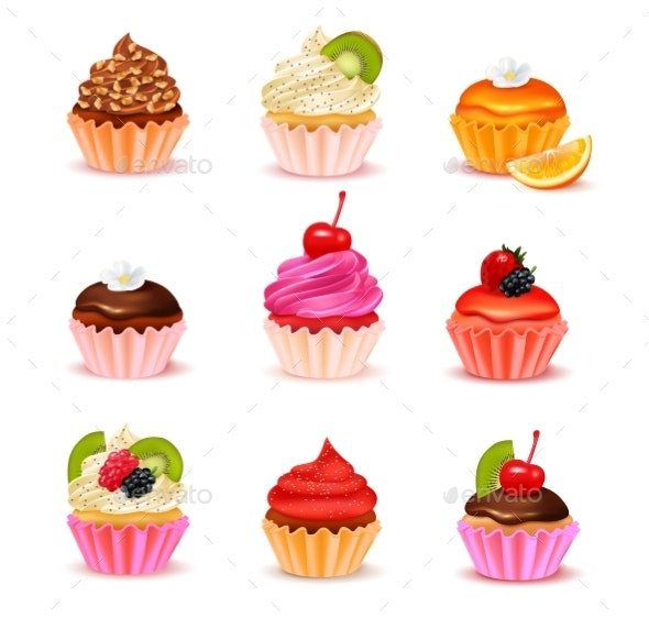 Cupcakes Assortment Set - Food Objects