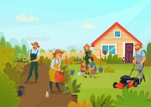 Gardening Cartoon Composition - Landscapes Nature