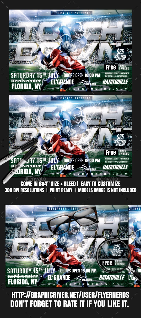 Touch Down Fottball Sports Flyer - Sports Events