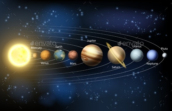 Sun and Planets of the Solar System - Travel Conceptual