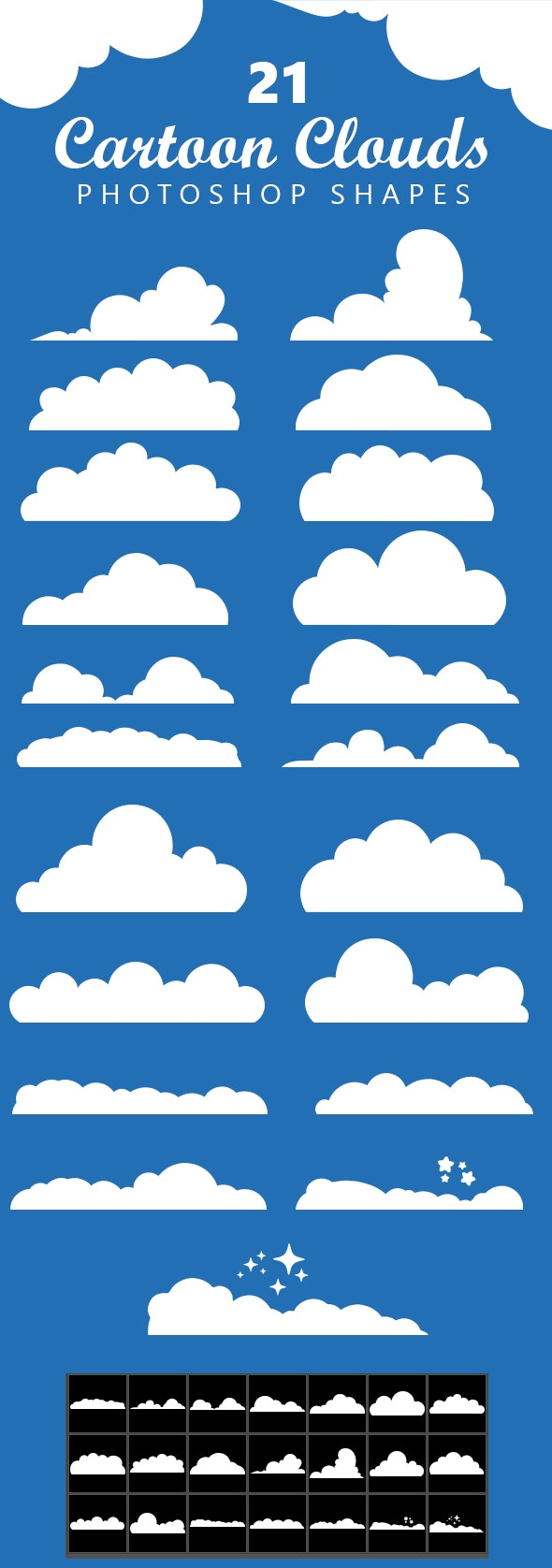 21 Cartoon Clouds Shapes - Objects Shapes
