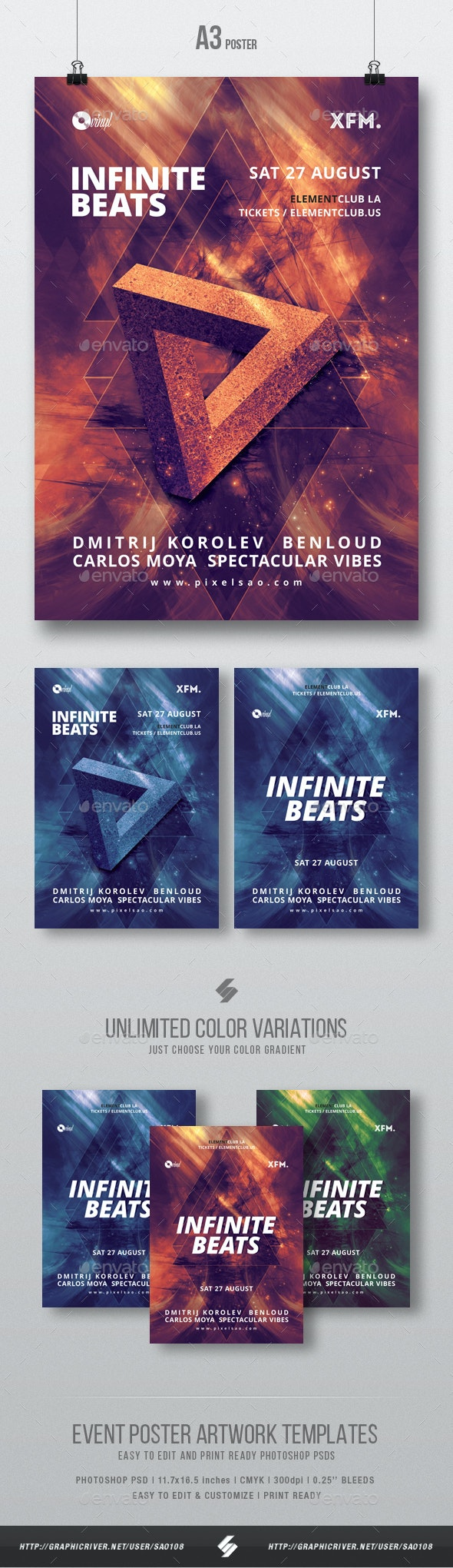 Infinite Beats - Progressive Party Flyer / Poster Template A3 - Clubs & Parties Events