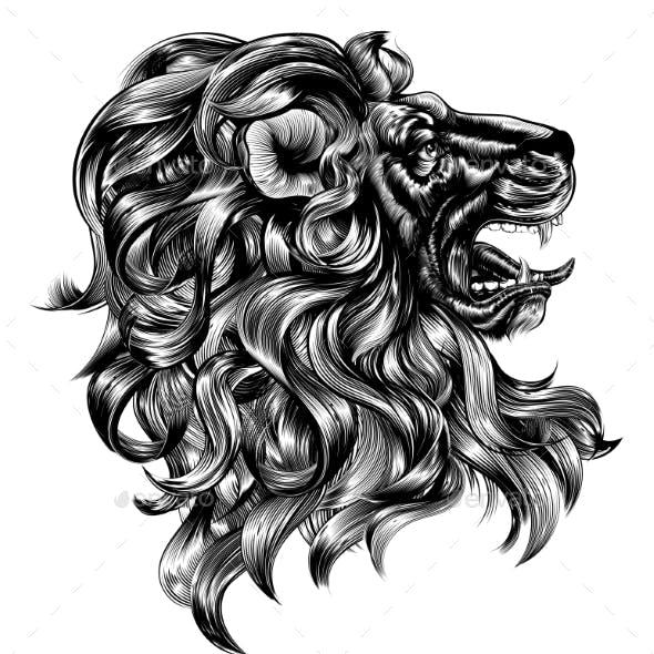 Vintage Woodblock Style Lion
