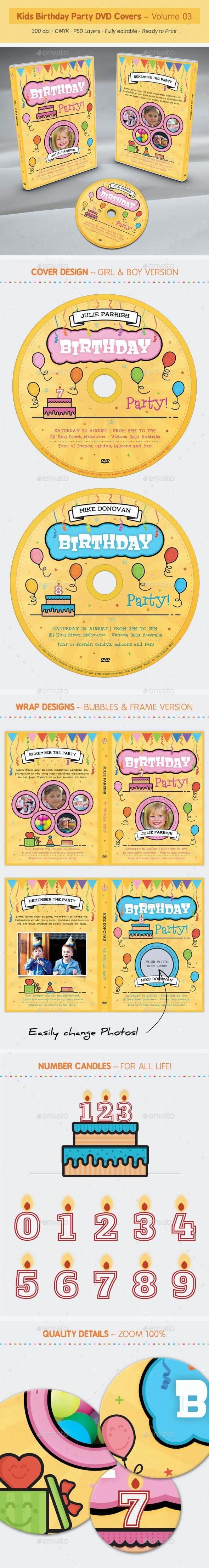 Kids Birthday Party DVD Covers - Volume 03 - CD & DVD Artwork Print Templates