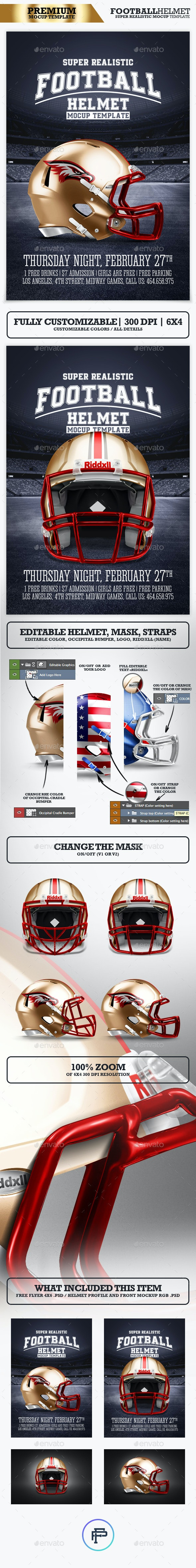 Realistic Football helmet Mockup / Full customizable - Product Mock-Ups Graphics