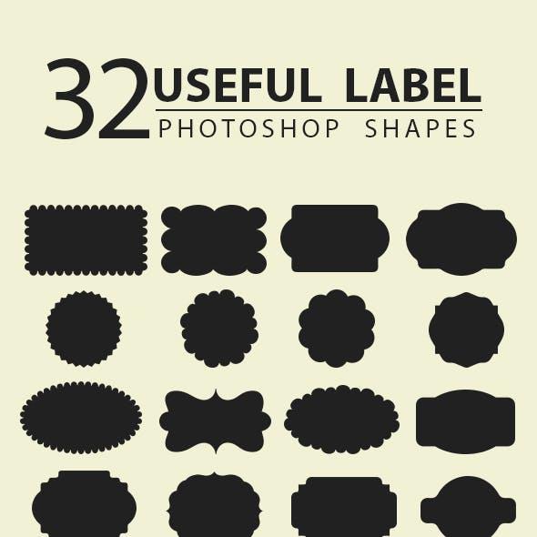 32 Useful Labels Photoshop Shapes