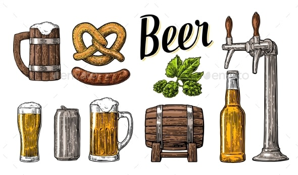 Beer Set with Tap, Class, Can, Bottle, Barrel - Food Objects